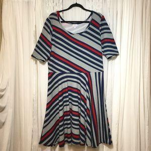 Dresses & Skirts - Lularoe Nicole stripe dress Gray, Blue, red